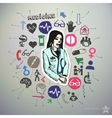 Hand drawn medical icons set and sticker with vector image