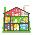 Flat design home interior side view vector image