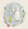 Cartoon goose and gosling vector image
