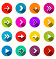 Flat Design Arrows Set in Circles vector image