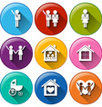 Round buttons for family planning vector image