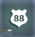Route 88 highway icon sign On the blue-green vector image