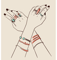 woman hands wearing jewelry vector image