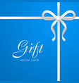 gift card narrow long white bow on blue vector image