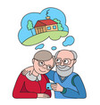 senior couple with credit card dreaming about vector image