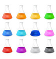 Chemical conical flask icon set vector image
