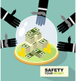 hands are drawn to money Protection against vector image