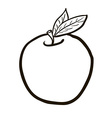black and white freehand drawn cartoon apple vector image vector image