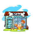Boy washing dog at pet shop vector image vector image