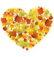 autumn leaves heart vector image