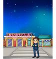 cartoon boy night club vector image