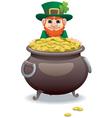 leprechaun and pot of gold vector image