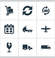set of simple conveyance icons vector image