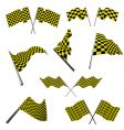 Checked racing flags set vector