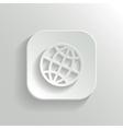 Globe icon - white app button vector image vector image