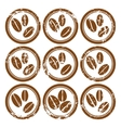 Set of vintage icons with coffee beans vector image
