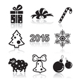 Set of christmas and new year flat icons vector image vector image