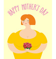 Happy Mothers day Woman with bouquet of roses vector image