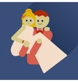 flat icon with long shadow groom holds his bride vector image