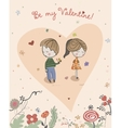 Boy gives the flower to Little Girl vector image