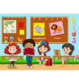 Children learning in classroom vector image