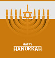 hanukkah menorah on light yellow background happy vector image