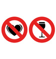 no allowed love and alcohol marks vector image