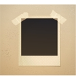 Photoframe on beige background with adhesive tape vector image vector image