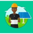 Female worker of solar power plant vector image