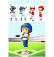 Kids in baseball uniform in the field vector image vector image