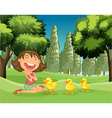 A happy girl and the three ducklings vector image