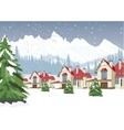 winter scenery with mountain ski resort vector image