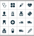 medicine icons set collection of plus painkiller vector image