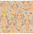 Seamless pattern with beautiful princesses vector image