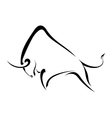 Silhouette strong wild bull vector image