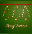 christmas cards with hand-drawn outline fir trees vector image