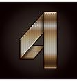 Number metal gold ribbon - 4 - four vector image