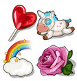 set of heart lollipop unicorn rose and rainbow vector image