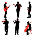 Silhouettes street musicians playing instruments vector image