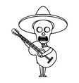 mexican mariachi skull character with guitar vector image