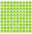 100 awards icons set green circle vector image