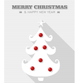 Merry Christmas red dot white tree vector image