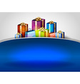 christmas background hill blue vector image vector image