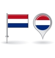 Dutch pin icon and map pointer flag vector image vector image