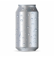 Realistic silver aluminum can with drops vector image