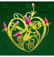 floral golden heart vector image vector image