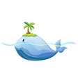 Dolphine and island in the sea vector image