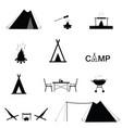camping set icon in black color vector image