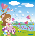 Girl blowing bubbles in the flowers garden vector image
