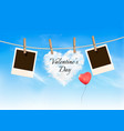 heart shaped cloud on rope and photos valentines vector image